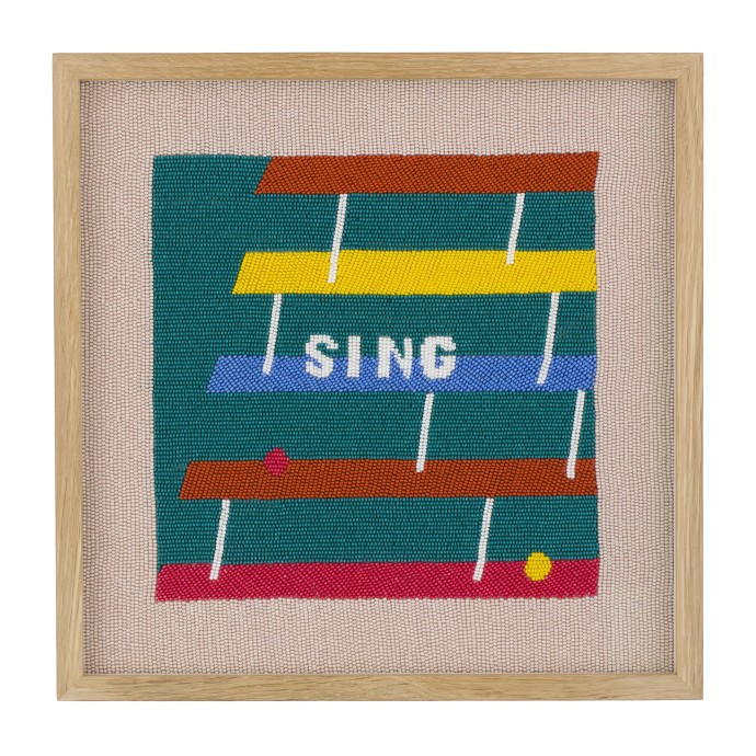 Rose Blake, Sing (Hearing The Last Note), 2018, beadwork on silk, 32 x 32 cm, 12 1/2 x 12 1/2 in
