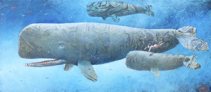 Sylvain Lefebvre, S.D.W n° 8 : Swimming with baby whales, 2020, oil and hand-painted paper on canvas, 27 x 55 cm, 10 5/8 x 21 5/8 in