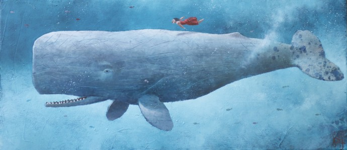 Sylvain Lefebvre, S.D.W n°9 : Sarah stroking the scratched skin whale, 2020, oil and hand-painted paper on canvas, 27 x 55 cm, 10 5/8 x 21 5/8 in