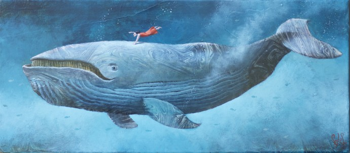 Sylvain Lefebvre, S.D.W n°10 : Catherine with the right white whale, 2020, oil and hand-painted paper on canvas  27 x 55 cm, 10 5/8 x 21 5/8 in