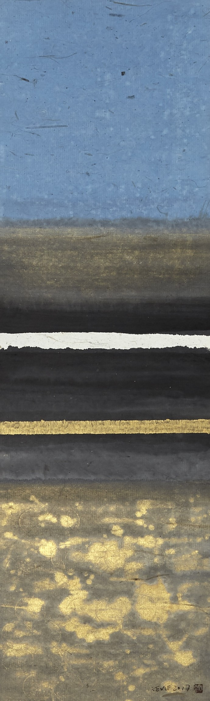 Ye Xue, Yellow River 21, 2019, Chinese ink and gold acrylic pigment on paper, 146 x 43 cm, 57 1/2 x 16 7/8 in, (unframed)