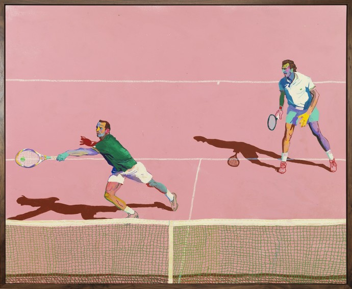 <p><b>Andy Dixon,&#160;</b><i>Tennis</i><span>, 2015,&#160;</span><span>acrylic, house paint, and oil pastel on canvas,&#160;</span><span>144.8 x 177.8 cm,&#160;</span><span>57 x 70 in</span></p>