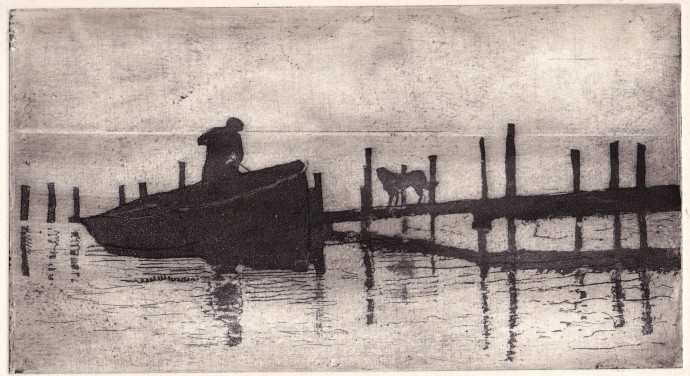 Joan Dannatt, The Ferryman, 2013, aquatint etching, 13 x 23 cm