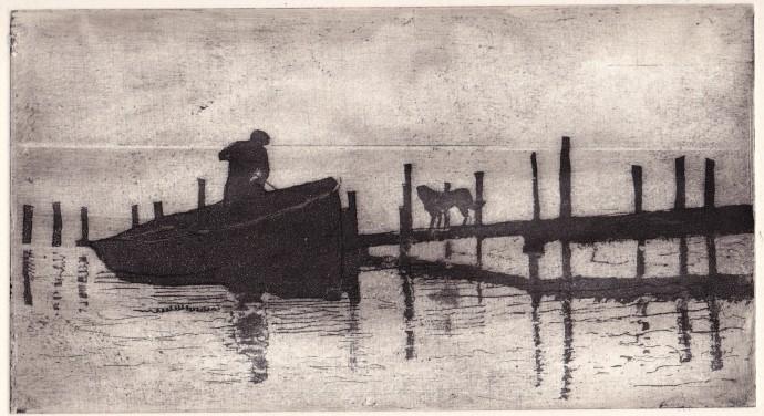 <p>Joan Dannatt,&#160;<em>The Ferryman</em>, 2013, aquatint etching, 13 x 23 cm</p>
