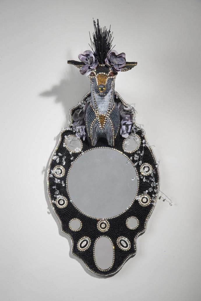 <div class=&#34;artist&#34;><strong>Nancy Josephson</strong></div><div class=&#34;title&#34;><em>Sly</em>, 2016</div><div class=&#34;medium&#34;>vintage and contemporary beads, taxidermy form, silk flowers</div><div class=&#34;dimensions&#34;>70 x 32 x 25 cm</div>