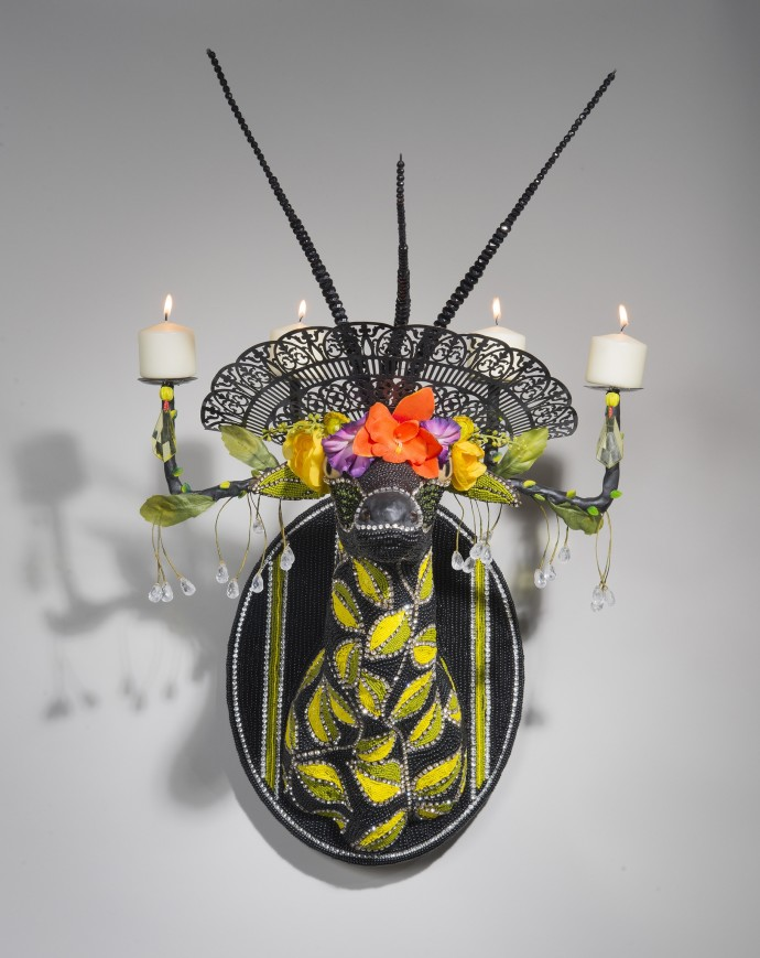 <div class=&#34;artist&#34;><strong>Nancy Josephson</strong></div><div class=&#34;title&#34;><em>Charlie</em>, 2015</div><div class=&#34;medium&#34;>Contemporary and vintage glass beads, rhinestones, sequins, taxidermy form</div><div class=&#34;dimensions&#34;>15 x 15 x 12in</div>