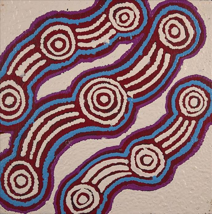 <div class=&#34;artist&#34;><strong>Jonathan Jangala Brown</strong></div><div class=&#34;title&#34;><em>Ngapa Jukurrpa (Water Dreaming) - Mikanji</em></div><div class=&#34;medium&#34;>synthetic polymer paint on canvas</div><div class=&#34;dimensions&#34;>30 x 30 cm<br>12 x 12 in</div>