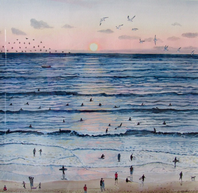 <div class=&#34;artist&#34;><strong>Emma Haworth</strong></div><div class=&#34;title&#34;><em>Sunset Surfers</em>, 2016</div><div class=&#34;medium&#34;>Watercolour on paper</div><div class=&#34;dimensions&#34;>62 x 62 cm<br>24 3/8 x 24 3/8 in</div>
