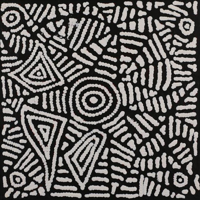 <div class=&#34;artist&#34;><strong>Pauline Napangardi Gallagher</strong></div><div class=&#34;title&#34;><em>Ngapa Jukurrpa (Water Dreaming) - Pururru</em>, 2016</div><div class=&#34;medium&#34;>synthetic polymer paint on canvas</div><div class=&#34;dimensions&#34;>30 x 30 cm<br>11 3/4 x 11 3/4 in</div>