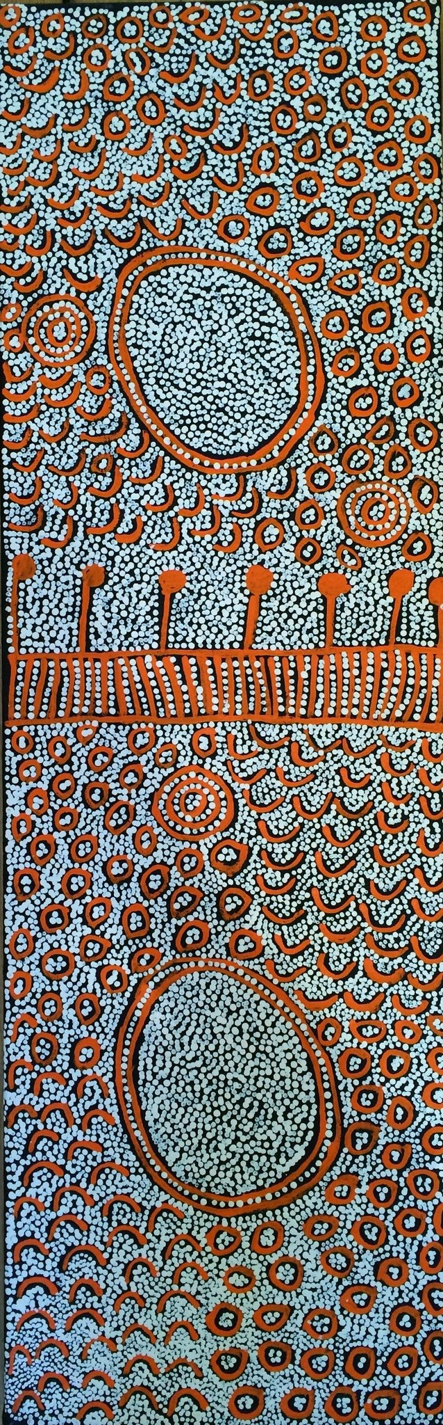 <div class=&#34;artist&#34;><strong>Yinarupa Nangala</strong></div> c 1948 -<div class=&#34;title&#34;>Untitled, 2013</div><div class=&#34;signed_and_dated&#34;>inscribed verso: Papunya Tula Artists 1311088</div><div class=&#34;medium&#34;>synthetic polymer paint on linen</div><div class=&#34;dimensions&#34;>87 x 28 cm<br>34 1/4 x 11 1/8 in</div>
