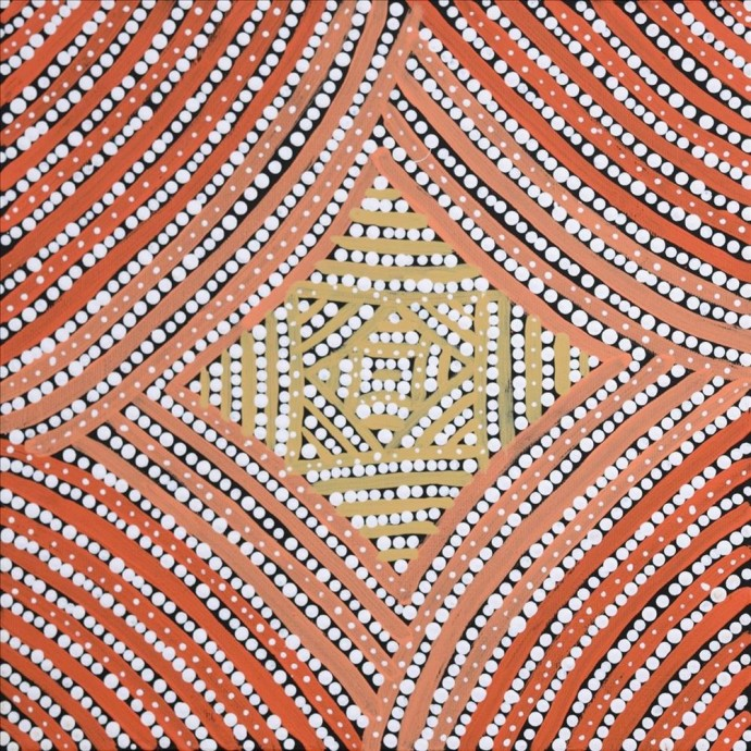 <div class=&#34;artist&#34;><strong>Valma Nakamarra White</strong></div><div class=&#34;title&#34;><em>Warna Jukurrpa (Snake Dreaming)</em>, 2016</div><div class=&#34;medium&#34;>synthetic polymer paint on canvas</div><div class=&#34;dimensions&#34;>30 x 30 cm<br>11 3/4 x 11 3/4 in</div>