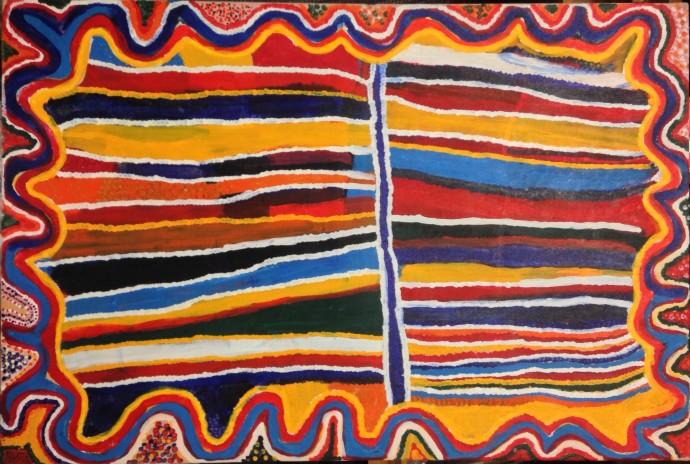 <div class=&#34;artist&#34;><strong>Susie Bootja Bootja</strong></div><div class=&#34;title&#34;><em>Winba Waterhole</em>, 1996</div><div class=&#34;medium&#34;>synthetic polymer paint on linen</div><div class=&#34;dimensions&#34;>109 x 81 cm</div>