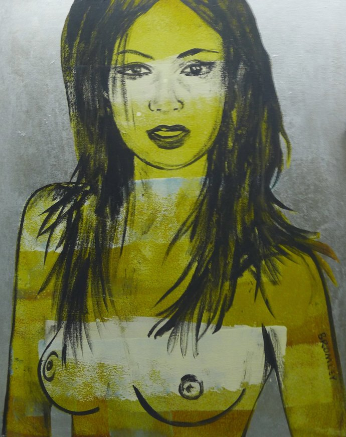 David Bromley, Yellow Nude on Silver Background