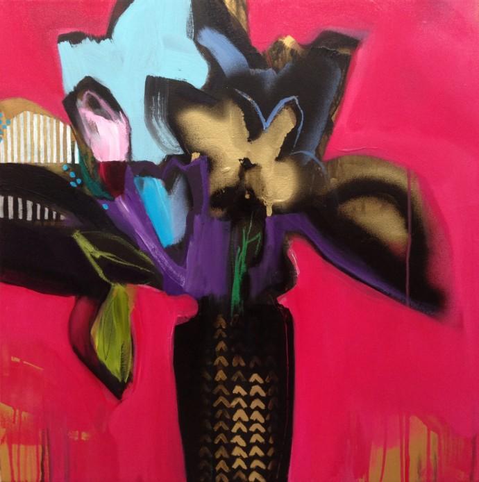 Emily Filler, Vase Of Flowers (Coral), 2014