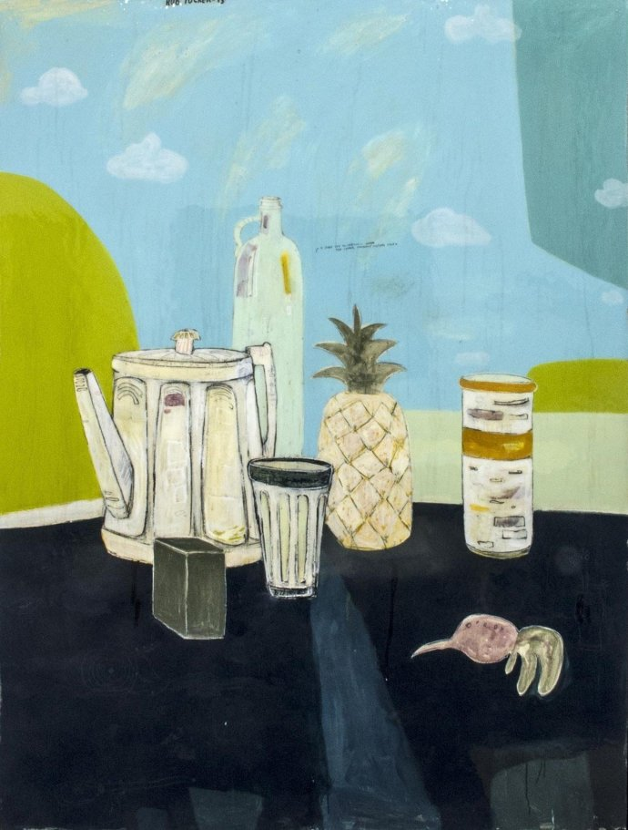 Rob Tucker, a study for an ambiguous green tea supper, pineapple custard style, 2013