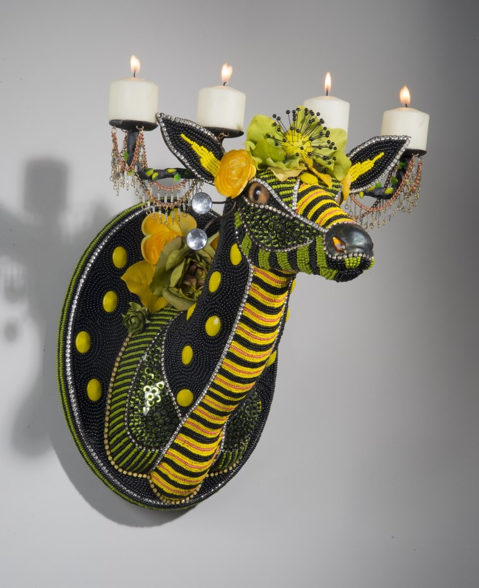 <div class=&#34;artist&#34;><strong>Nancy Josephson</strong></div><div class=&#34;title&#34;><em>Spot</em>, 2015</div><div class=&#34;medium&#34;>contemporary and vintage glass beads, rhinestones, sequins, taxidermy form</div><div class=&#34;dimensions&#34;>38 x 38 x 31 cm<br>15 x 15 x 12 in</div>