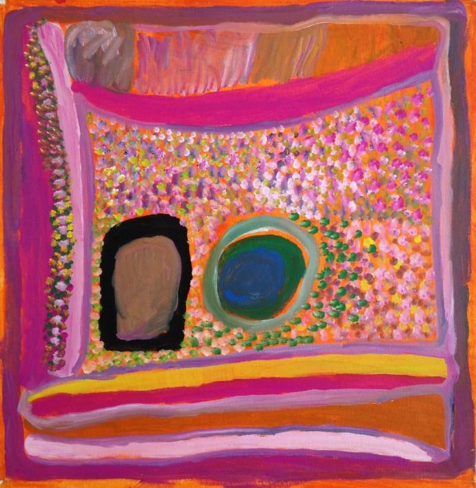 <div class=&#34;artist&#34;><strong>Jukuna Mona Chuguna</strong></div><div class=&#34;title&#34;><em>Jumujarra- Two Waterholes</em>, 2010</div><div class=&#34;signed_and_dated&#34;>inscribed verso: Mangkaja Arts 315/10</div><div class=&#34;medium&#34;>synthetic polymer paint on canvas</div><div class=&#34;dimensions&#34;>60 x 60 cm<br>23 5/8 x 23 5/8 in</div>