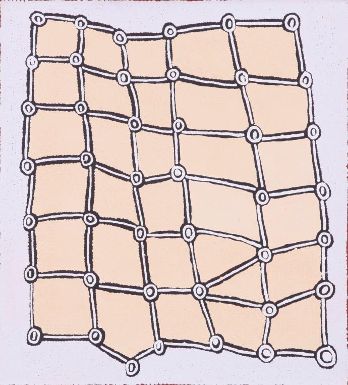 <div class=&#34;artist&#34;><strong>Yakari Napaltjarri</strong></div><div class=&#34;title&#34;><em>Ngaminya</em>, 2016</div><div class=&#34;medium&#34;>synthetic polymer paint on Belgian linen</div><div class=&#34;dimensions&#34;>61 x 55 cm</div>