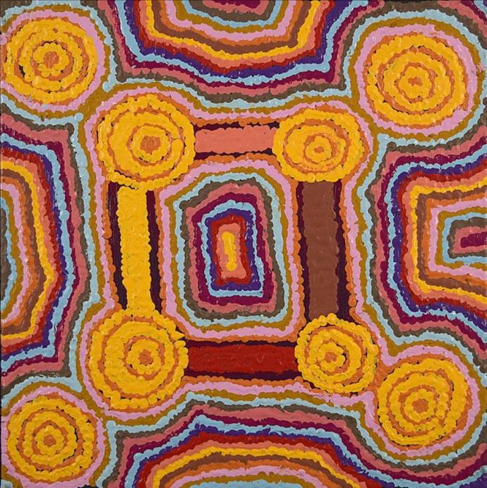<div class=&#34;artist&#34;><strong>Rickaya Nampijinpa Brown</strong></div><div class=&#34;title&#34;><em>Ngapa Jukurrpa (Water Dreaming) - Puyurru</em></div><div class=&#34;medium&#34;>synthetic polymer paint on canvas</div><div class=&#34;dimensions&#34;>30 x 30 cm<br>12 x 12 in</div>