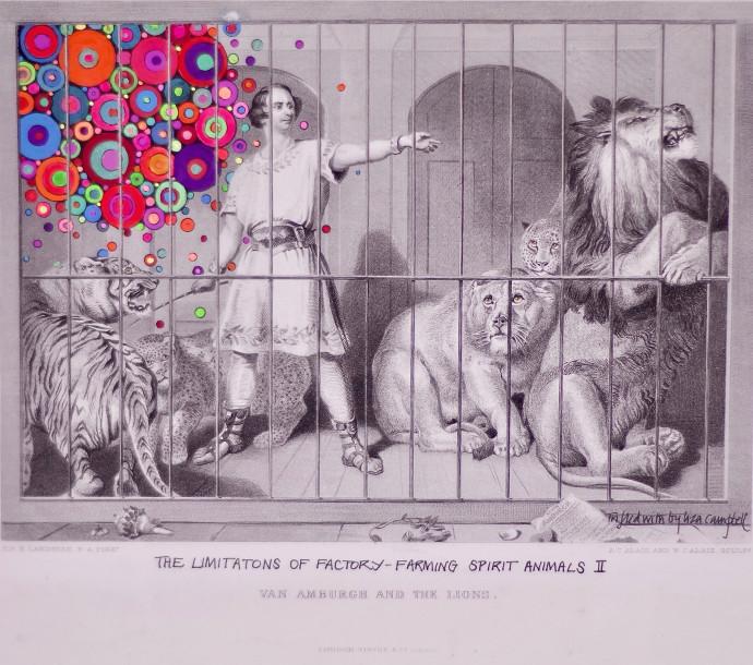 <div class=&#34;artist&#34;><strong>Liza Campbell</strong></div><div class=&#34;title&#34;><em>The Limitation of Factory-Farming Spirit Animals II</em></div><div class=&#34;medium&#34;>ink, gouache and acrylic on engraved paper</div>
