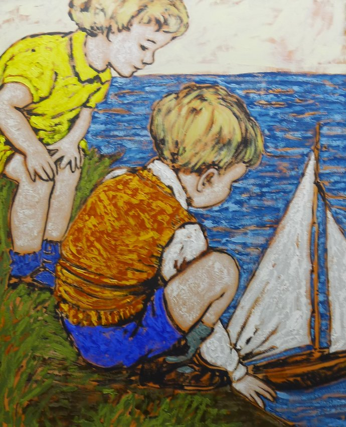 David Bromley, Two children with toy boat at seaside
