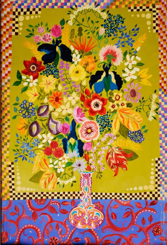 Hepzibah Swinford, Flowers in a Moroccan Vase, 2014