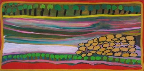 <div class=&#34;artist&#34;><strong>Jukuna Mona Chuguna</strong></div><div class=&#34;title&#34;><em>Mijartu (salty water)</em>, 2006</div><div class=&#34;signed_and_dated&#34;>inscribed verso: Mangkaja Arts 553/06</div><div class=&#34;medium&#34;>synthetic polymer paint on canvas</div><div class=&#34;dimensions&#34;>60 x 120 cm<br>23 5/8 x 47 1/4 in</div>