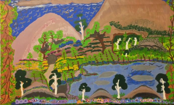 <div class=&#34;artist&#34;><strong>Betty Roberts</strong></div><div class=&#34;title&#34;><em>Billabongs and Roper River</em>, 1996</div><div class=&#34;medium&#34;>acrylic on canvas</div><div class=&#34;dimensions&#34;>75 x 115 cm</div>