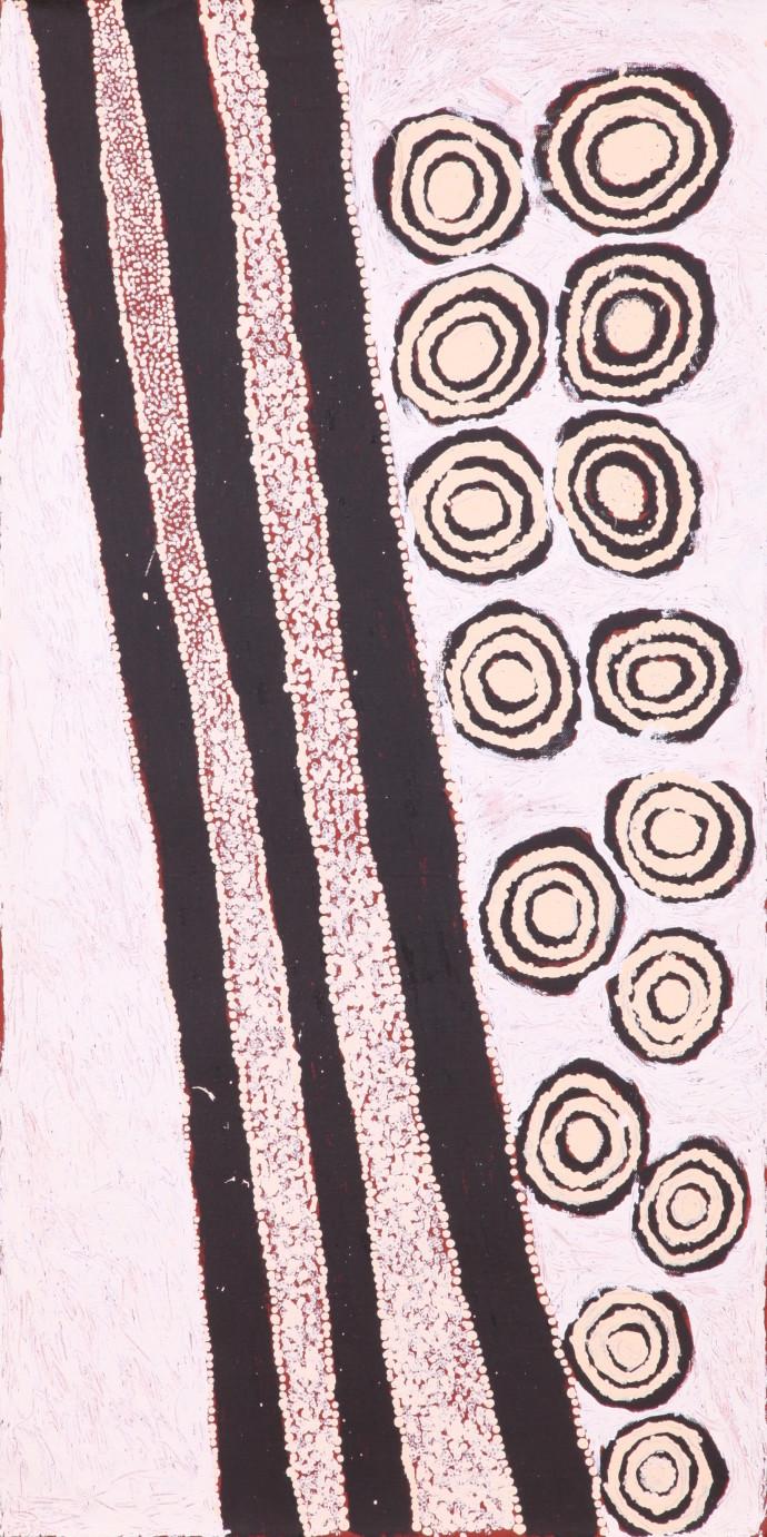 <div class=&#34;artist&#34;><strong>Hilary Tjapaltjarri</strong></div><div class=&#34;title&#34;><em>Pirruwaltja</em>, 2015</div><div class=&#34;medium&#34;>synthetic polymer paint on Belgian linen</div><div class=&#34;dimensions&#34;>91 x 46 cm</div>
