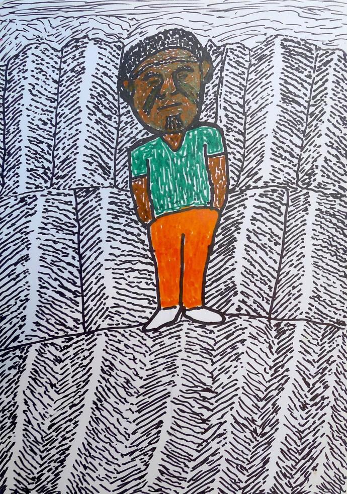 Jimmy Pike, Self-portrait in the sandhills
