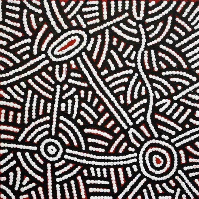 <div class=&#34;artist&#34;><strong>Leah Nampijinpa Sampson</strong></div><div class=&#34;title&#34;><em>Ngapa Jukurrpa (Water Dreaming)- Pirlinyarnu</em>, 2016</div><div class=&#34;signed_and_dated&#34;>inscribed verso: 3248/16</div><div class=&#34;medium&#34;>synthetic polymer paint on linen</div><div class=&#34;dimensions&#34;>30 x 30 cm<br>11 3/4 x 11 3/4 in</div>