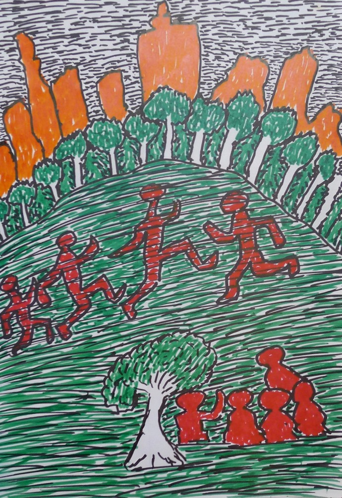 Jimmy Pike, London skycape, seen from Hampstead Heath. Jimmy, Pat and friends are in the foreground, watching children playing. (NFS)