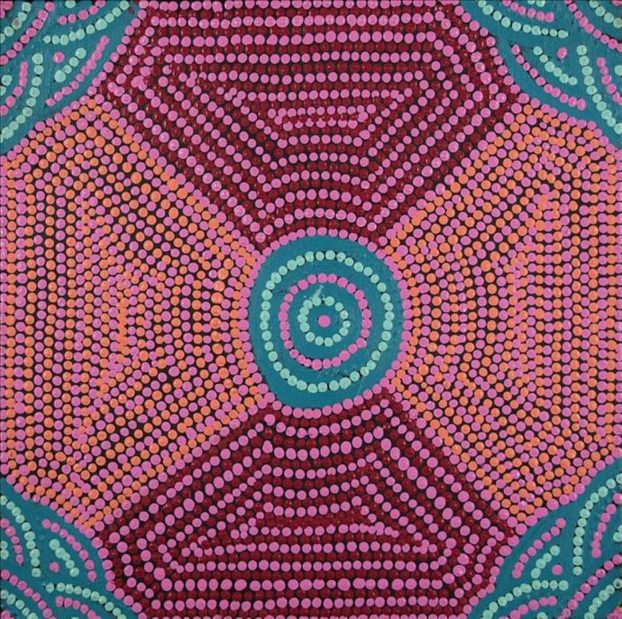 <div class=&#34;artist&#34;><strong>Cherise Nangala Major</strong></div><div class=&#34;title&#34;><em>Lukarrara Jukurrpa (Desert Fringe-rush Seed  Dreaming)</em></div><div class=&#34;medium&#34;>synthetic polymer paint on canvas</div><div class=&#34;dimensions&#34;>30 x 30 cm<br>12 x 12 in</div>