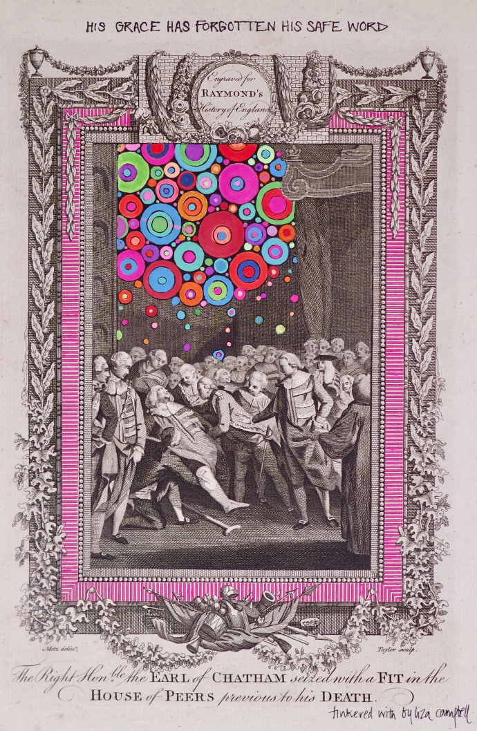 <div class=&#34;artist&#34;><strong>Liza Campbell</strong></div><div class=&#34;title&#34;><em>His Grace Hath Forgotten His Safe Word</em>, 2017</div><div class=&#34;medium&#34;>ink, gouache and acrylic on engraved paper</div><div class=&#34;dimensions&#34;>38.3 x 30.3 cm<br>15 1/8 x 11 7/8 in</div>