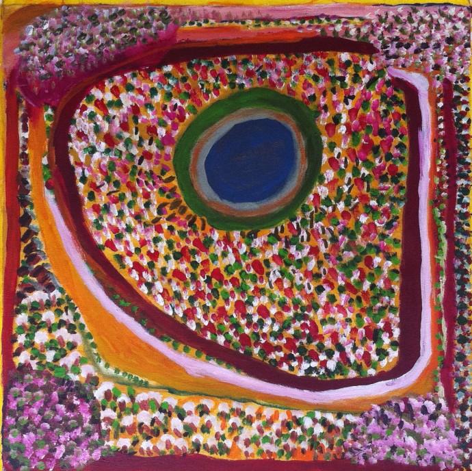 <div class=&#34;artist&#34;><strong>Jukuna Mona Chuguna</strong></div> (1933-2011)<div class=&#34;title&#34;><em>Mawanti-jiwari</em>, 2010</div><div class=&#34;signed_and_dated&#34;>inscribed verso: Mangkaja Arts 328/10</div><div class=&#34;medium&#34;>synthetic polymer paint on canvas</div><div class=&#34;dimensions&#34;>60 x 60 cm<br>23 5/8 x 23 5/8 in</div>