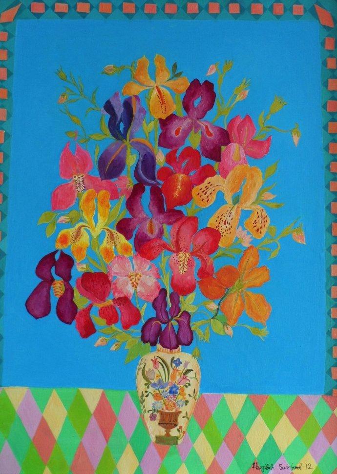 Hepzibah Swinford, Iris on Blue, 2012