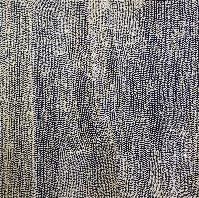 <div class=&#34;artist&#34;><strong>Mavis Marks</strong></div><div class=&#34;title&#34;><em>Kalipinpa - Water Dreaming I</em>, 2017</div><div class=&#34;medium&#34;>synthetic polymer paint on Belgian linen</div><div class=&#34;dimensions&#34;>122 x 122 cm</div>
