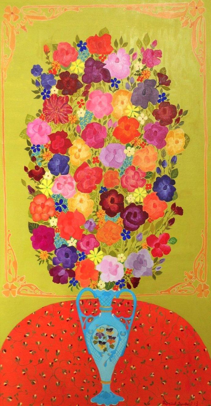 Hepzibah Swinford, Roses on Green Gold, 2012