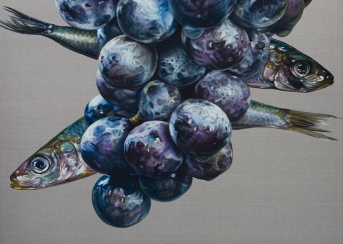 Anne Middleton, Racemus bundus cum Sardina Pilchardus [Abundant Grapes and Sardines], 2012