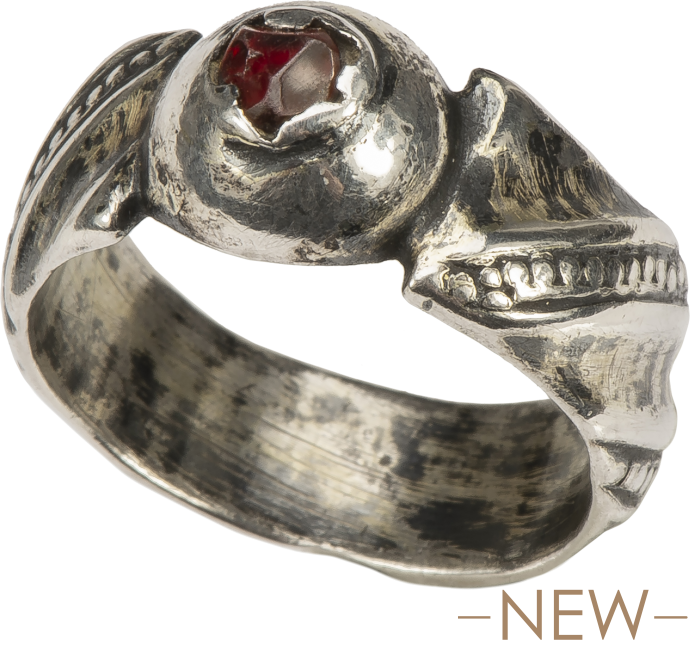 Ring with Ruby-Red Glass Stone