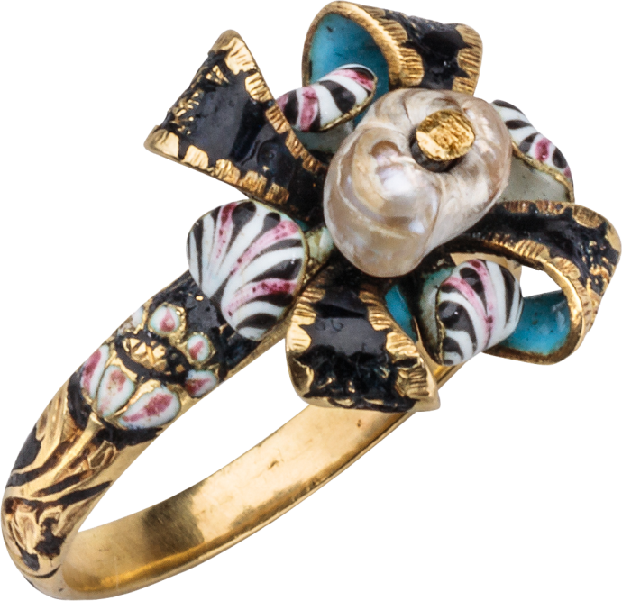 Love Ring with Bow and Flowers