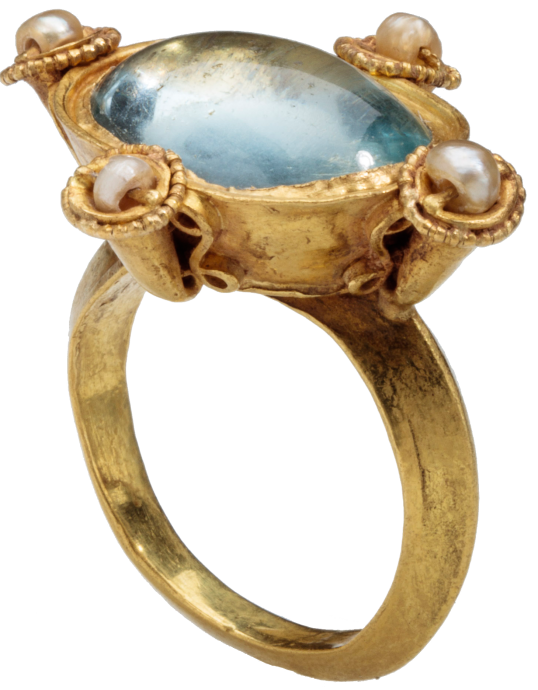 Byzantine Glass and Pearl Ring