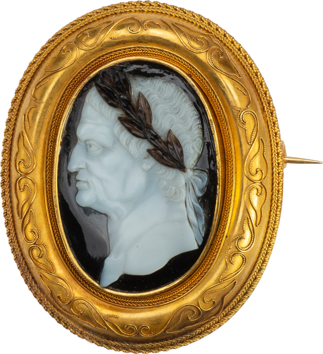 Portrait Cameo of Emperor Vespasian in a Gold Brooch