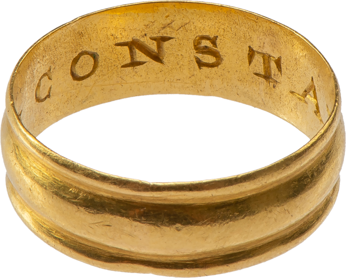 "Gold Posy Ring ""BE CONSTANT"""