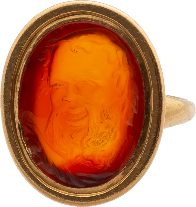 Neoclassical Ring Set with a Carnelian Intaglio of Dionysius