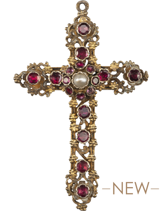 Ruby and Pearl Cross Pendant