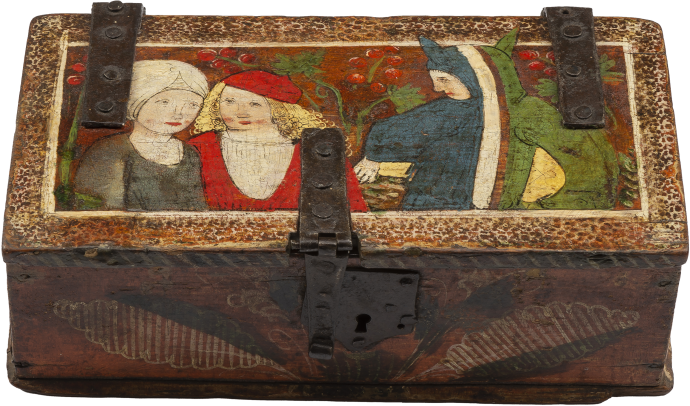Painted Minnekästchen Casket with Two Lovers and a Fool
