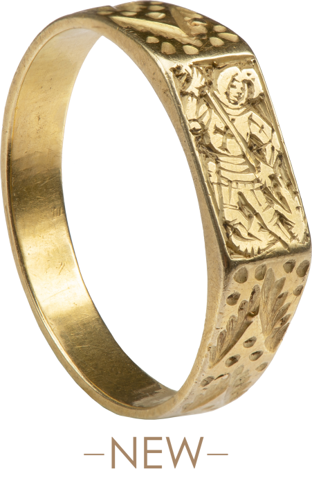 Medieval Iconographic Ring with St. George Slaying the Dragon