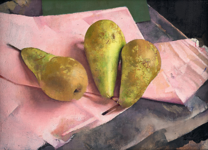 Diarmuid Kelley, Conference Pears Against a Pink Napkin (Whiskey in a Jar), 2018