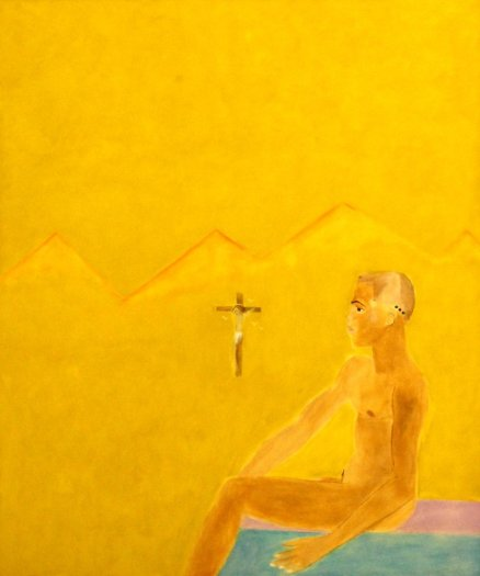 Boy Seated and Crucifixion